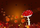 Cute autumn scene with mushroom and leaves — Stock Vector
