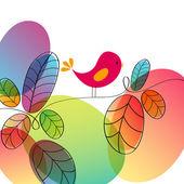 Cute autumn bird illustration — Stock Vector