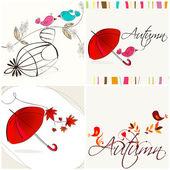 Ensemble d'illustrations automne mignonnes — Vecteur