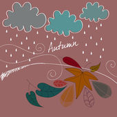 Cute autumn leaves illustration — Stockvektor