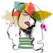Chica moderna otoño — Vector de stock