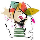 Moderna hösten girl — Stockvektor