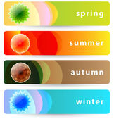 Set of horizontal four seasons banners: summer, autumn, winter a — Stock Vector