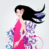 Beautiful floral fashion girl illustration — Stock Vector