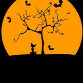 Jolie illustration de halloween avec chat et chauves-souris — Vecteur