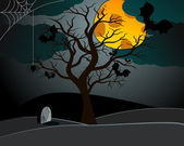 Cute Halloween illustration with bats and old tree — Vector de stock