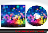 Music themed CD cover presentation template — Stok Vektör