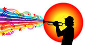 Jazz musician playing on trumpet — Stock Vector