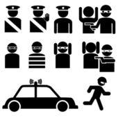 Satz von räuber und polizist strichfiguren — Stockvektor