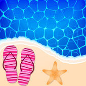 Summer illustration with ocean, beach, flip-flops and starfish — Stock Vector