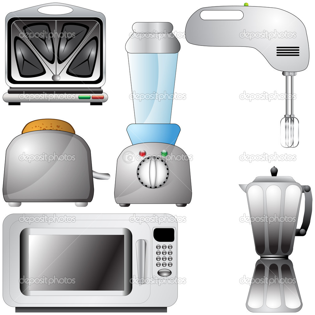 Set Of Realistic Detailed Kitchen Appliances Stock Illustration
