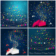 Beautiful glittering Christmas gift boxes and trees — Stockvectorbeeld