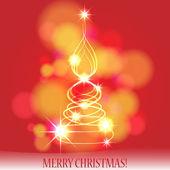 Beautiful glittering Christmas fir tree — Stock Vector