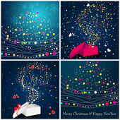 Beautiful glittering Christmas gift boxes and trees — Cтоковый вектор
