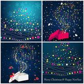 美丽闪亮的圣诞礼品盒和树 — 图库矢量图片