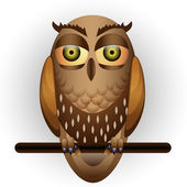 Funny owl on branch — Stock Vector