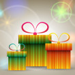 Beautiful glittering Christmas gift boxes — Stock Vector