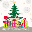 Royalty-Free Stock 矢量图片: Cute Christmas greeting card with reindeer and Christmas tree