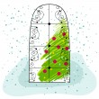 Cute Christmas greeting card with Christmas tree — Stock Vector #7700168