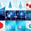Stock Vector: Beautiful glittering Christmas ornaments and trees