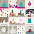 Set of cute hand drawn style Christmas illustrations — Stock Vector