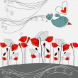Beautiful, hand drawn style poppies and bird in love — Stock Vector