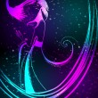 Royalty-Free Stock Vector Image: Beautiful glowing winter girl made of neon light