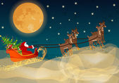 Vector beautiful Christmas card with Santa's sleigh — Stock Vector