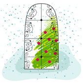 Cute Christmas greeting card with Christmas tree — Stock Vector