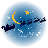 Santa's sleigh flying in front of a full Moon — Stock Vector
