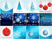 Beautiful glittering Christmas ornaments and trees — Stock Vector