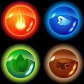 Set van de vier elementen — Stockvector