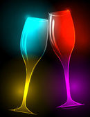 Eleganckie błyszczące kieliszki do szampana — Wektor stockowy