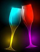 Elegant, glittering champagne glasses — Stockvektor