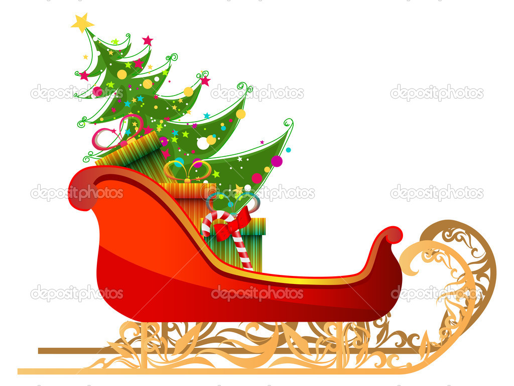 Vector beautiful, cute, detailed illustration of Santa's sleigh with gifts and Christmas tree — Stock Vector #7700139