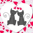 Cute cats in love — Stockvectorbeeld