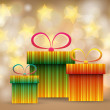 Stock Vector: Beautiful glittering Christmas gift boxes