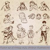 Sada vinobraní děti ilustrace — Stock vektor