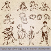 Set of vintage children illustration — Vector de stock