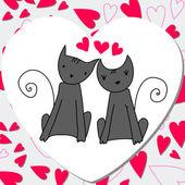 Niedliche katzen verliebt — Stockvektor