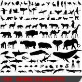 100 の非常に詳細な動物のシルエットのセット — ストックベクタ