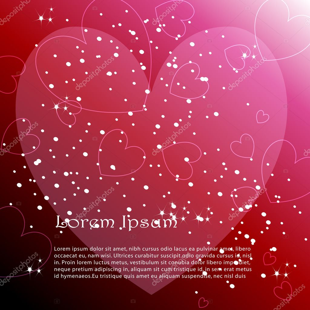 Vector elegant, stylish romantic background illustration with glowing hearts  Stock Vector #7822393