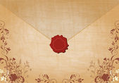 Beautiful floral vintage envelope illustration — Stock Vector