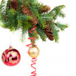 Christmas concept with baubles on white — Stock Photo #7455596