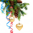 Stock Photo: Christmas concept with baubles on white