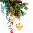 Foto Stock: Christmas concept with baubles on white