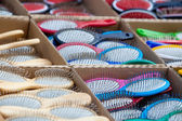 Combs. Different types of hairbrushes — Stock Photo