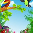 Stock Vector: Birds in the tropical forest