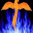 Phoenix bird over blue flame — Stock Vector