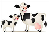 Mother and baby cow — Stock Vector
